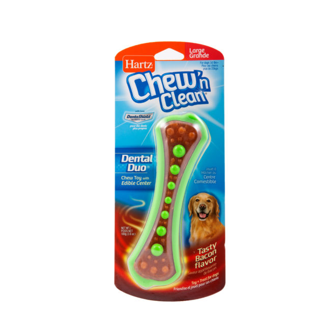 Bone shaped dental dog treat with green beads and bacon flavor