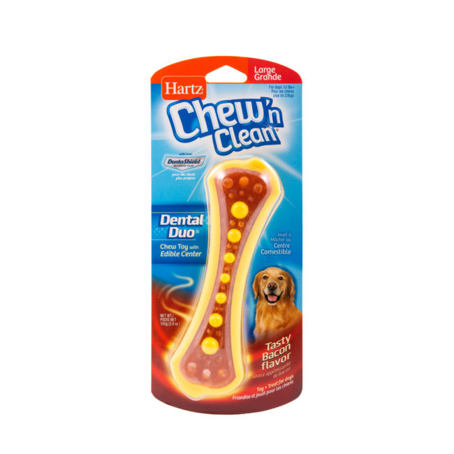 Bone shaped dental dog treat with yellow beads and bacon flavor