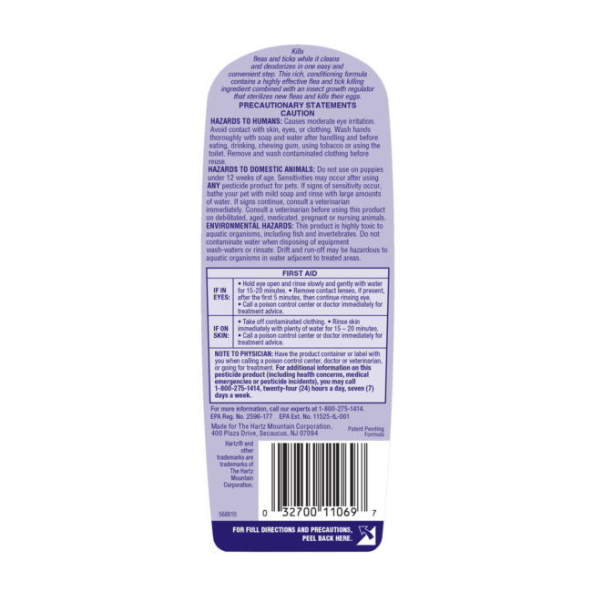 Directions to a flea and tick shampoo for puppies, Hartz SKU 3270011069