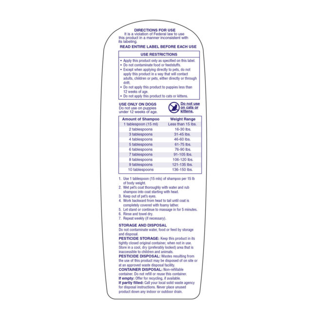 Use restrictions to flea and tick shampoo for dogs, Hartz SKU 3270011069