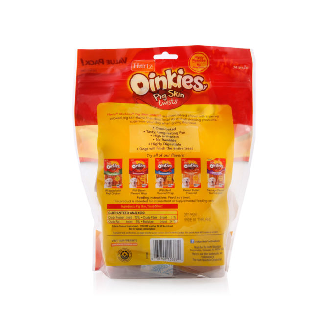 A pack of 20 pig skin dog treats, smoked flavor, back of package, Hartz SKU 3270015377