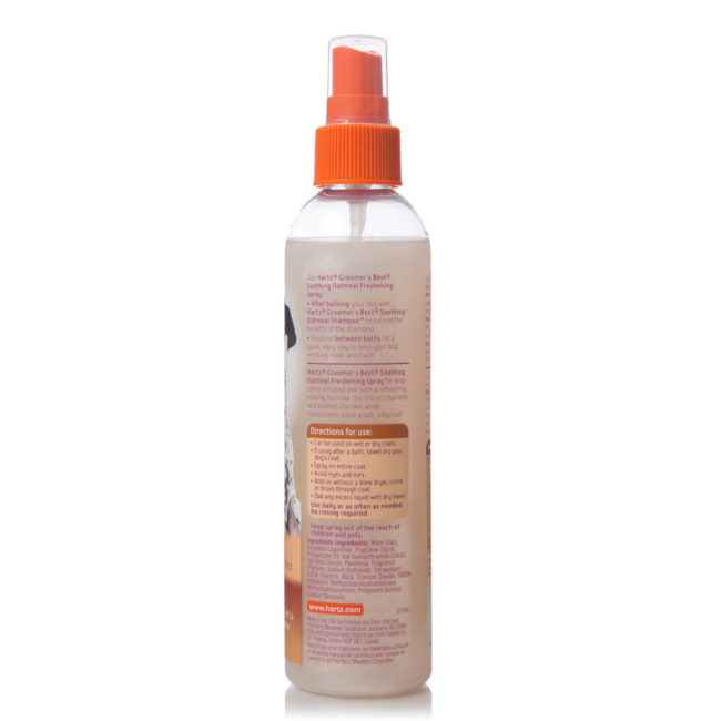 Directions to grooming spray for dogs with itchy skin, Hartz SKU 3270015404
