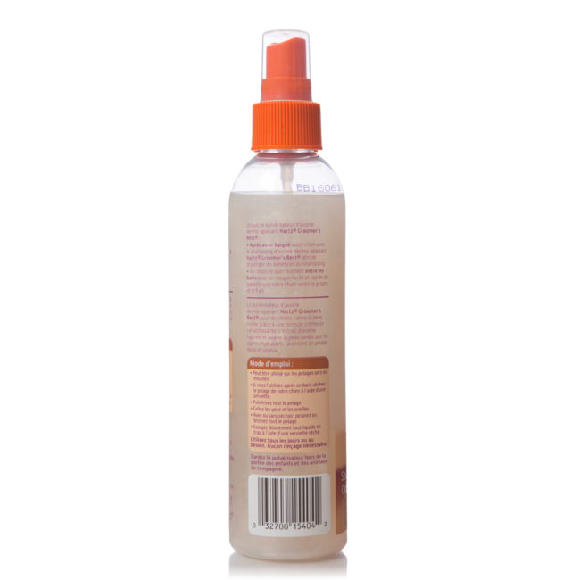 Directions to grooming spray for dogs, in French, Hartz SKU 3270015404