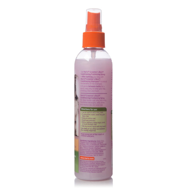 Directions to conditioning spray for grooming dogs, Hartz SKU 3270015406