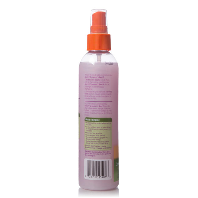 Directions to conditioning spray for dogs, in French, Hartz SKU 3270015406