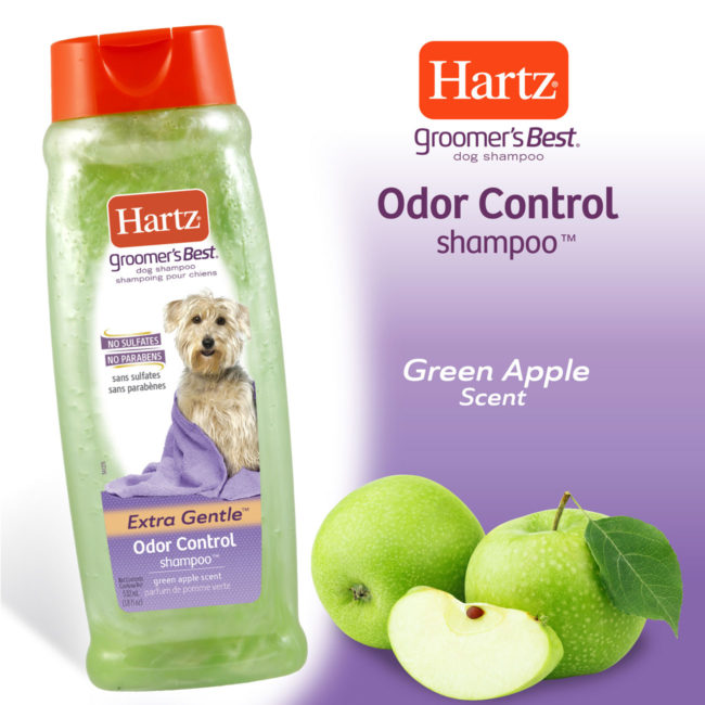 Hartz groomers best odor control shampoo for dogs. Contains a green apple scent.