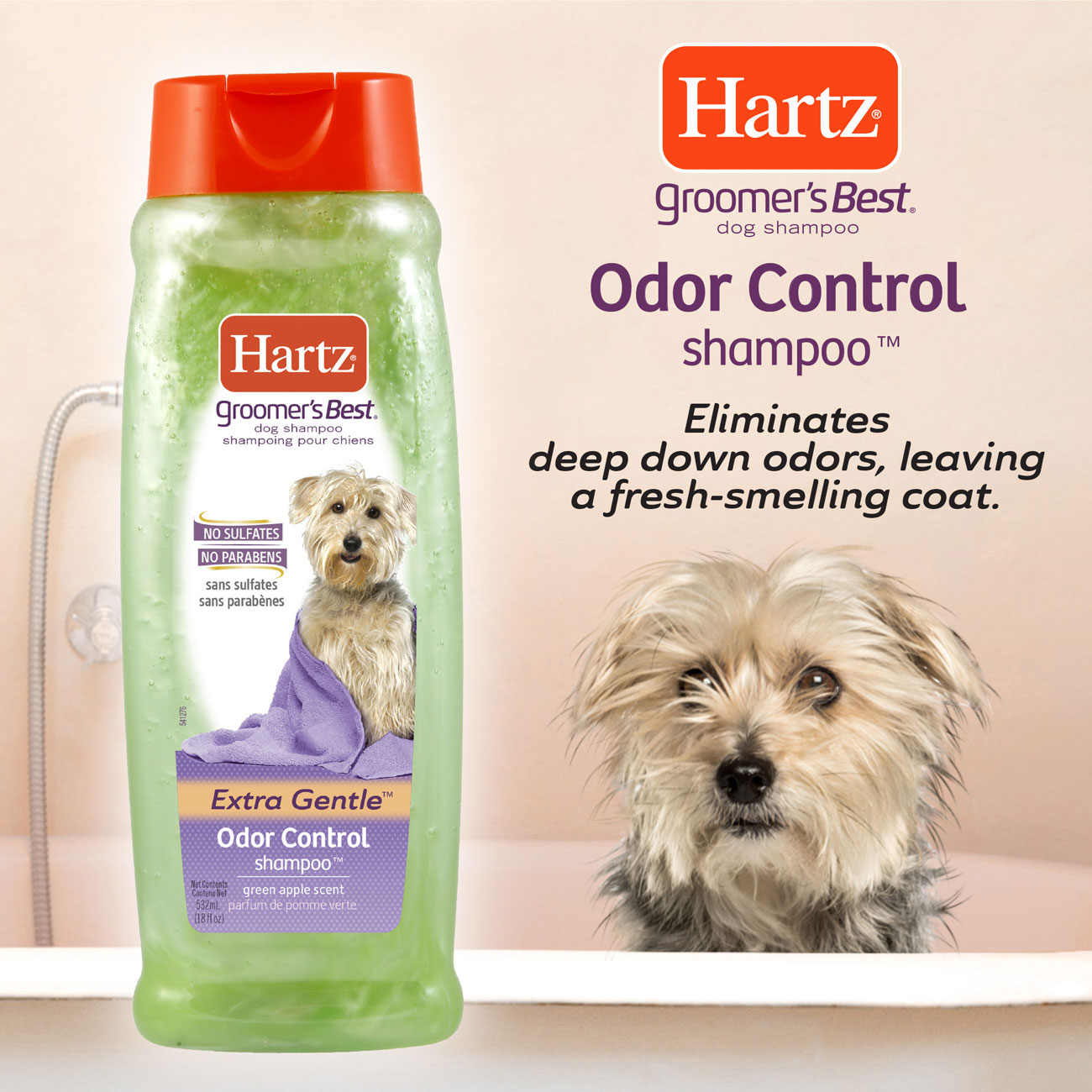 Hartz groomers best Odor control shampoo for dogs. Eliminates deep down odors, leaving a fresh-smelling coat.