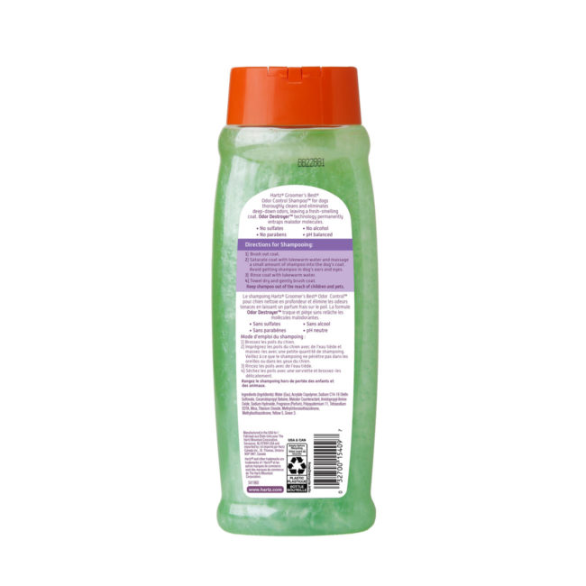 Hartz groomers best odor control shampoo for dogs. Back of package. Learn more about odor control shampoo and dog shampoo from hartz. SKU#3270015409.