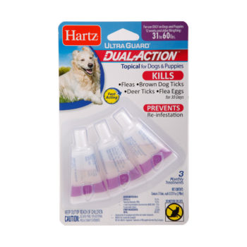 A dual action flea and tick treatment for large dogs, Hartz SKU 3270015650