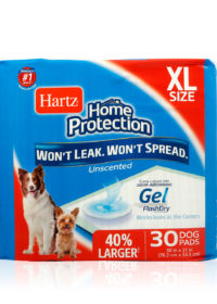 Hartz Home Protection Odor Eliminating Dog Pads 30 Count. Front of package. Hartz Home Protection dog pads help eliminate dog odor.