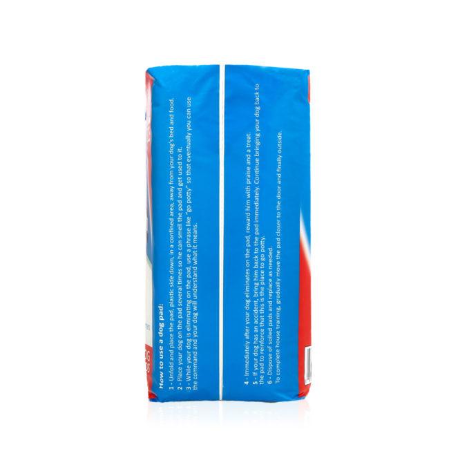 Hartz Home Protection Odor Eliminating Dog Pads 30 Count. Left side of package. Hartz Home Protection dog pads help eliminate dog odor.