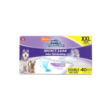 Hartz Home Protection Odor Eliminating Dog Pads. Front of XL 40 count package. Hartz SKU# 3270015480