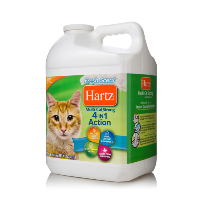 A multi-cat litter with 4 in 1 action, odor control, Hartz SKU 3270014912. Clumping clay cat litter.