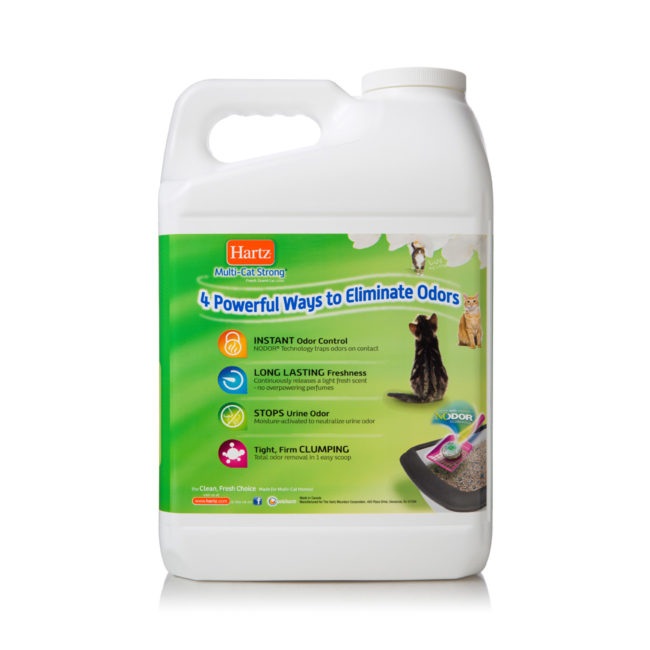 Multi-cat litter with odor control and clumping, Hartz SKU 3270014912. Hartz Multi-Cat cat litter eliminates odor.