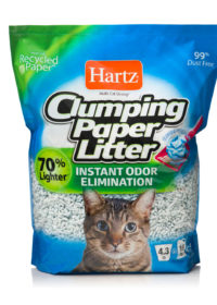 A 4.3 lb clumping paper litter for cats, dust free, Hartz SKU 3270015558