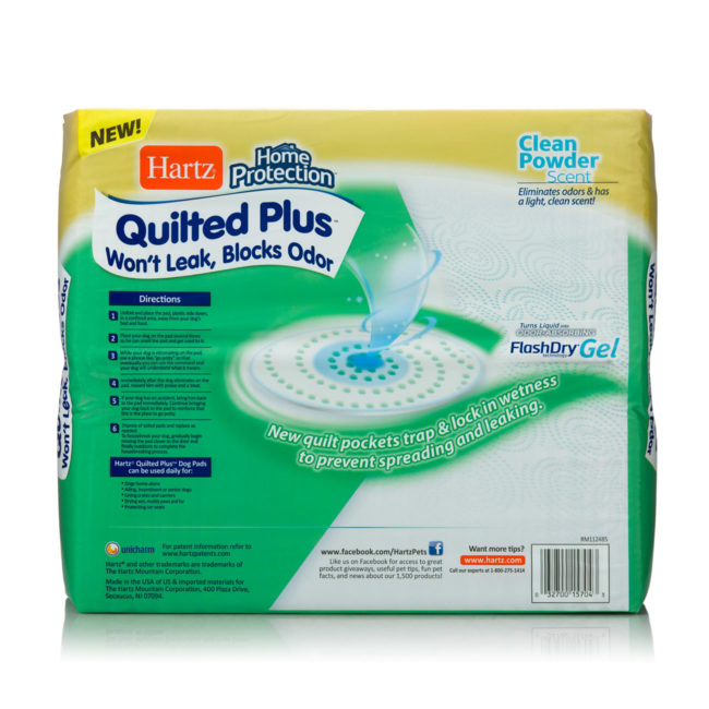 Directions to quilted training pads for dogs, Hartz SKU 3270015704