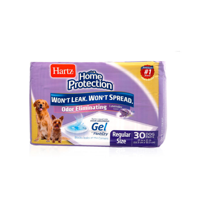 Angled front of Hartz Home Protection Odor Eliminating Dog Pads. There are two dogs and an illustration of a dog pad on the package, Hartz SKU 3270014837