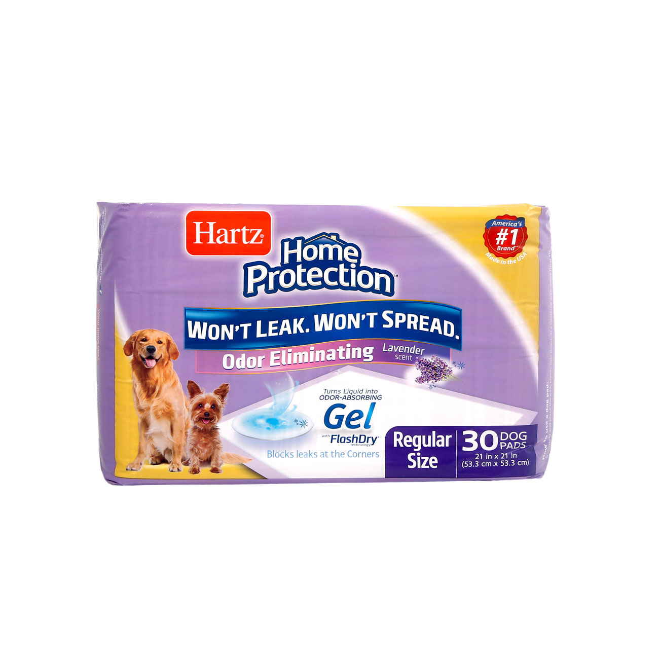 Front of Hartz Home Protection Odor Eliminating Dog Pads. There are two dogs and an illustration of a dog pad on the package, Hartz SKU 3270014837