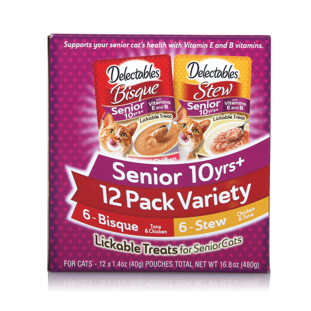 12 pack of chicken and tuna treats for senior cats, Hartz SKU 3270015746