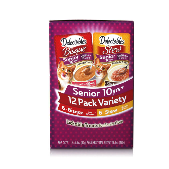 Variety pack of lickable treats for senior cats, Hartz SKU 3270015746