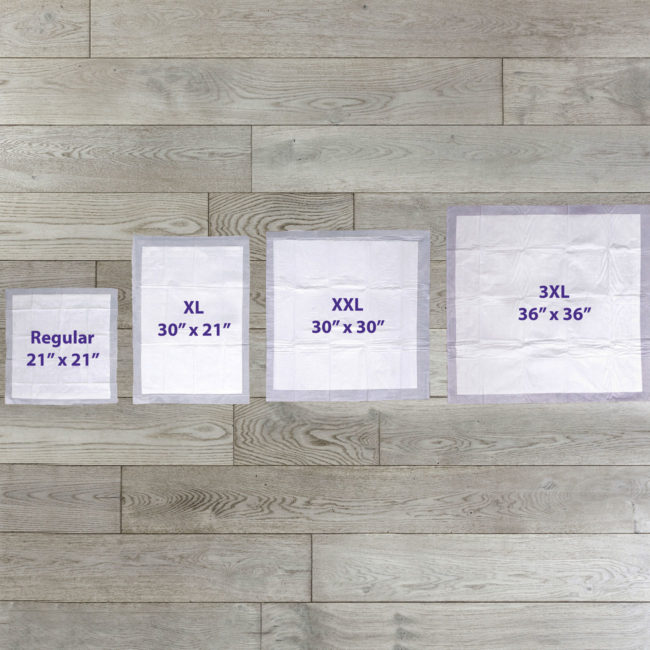 Hartz Home Protection Odor Eliminating training pads are available in regular, XL, XXL and 3XL sizes.