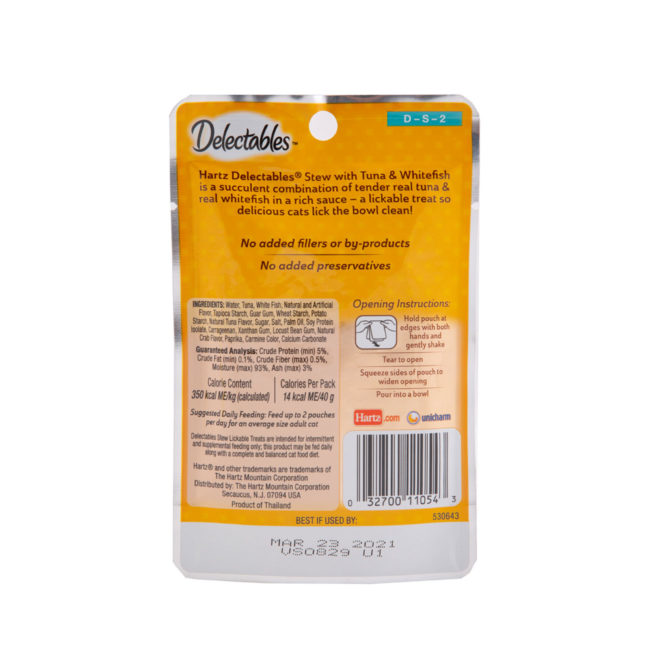 Ingredients to tuna and whitefish treat for cats, Hartz SKU 3270011054