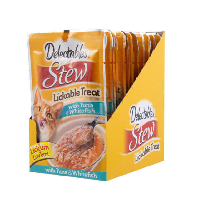 A pack of 10 tuna and whitefish stews for cats, Hartz SKU 3270011054