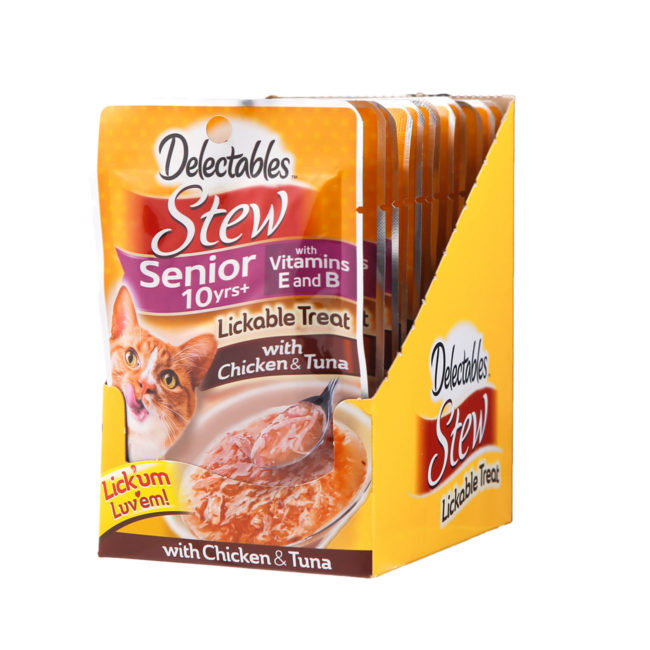 Hartz delectables lickable treat stew senior 10+ with chicken and tuna. Front of carton.