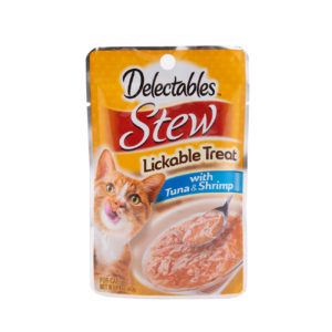 Delectables Lickable Treat Stew with Tuna and Shrimp. Back of package. Hartz Delectables Lickable Treat is the first wet cat treat.