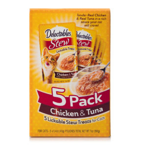 A 5 pack of real chicken and tuna in sauce for cats, Hartz SKU 3270015466