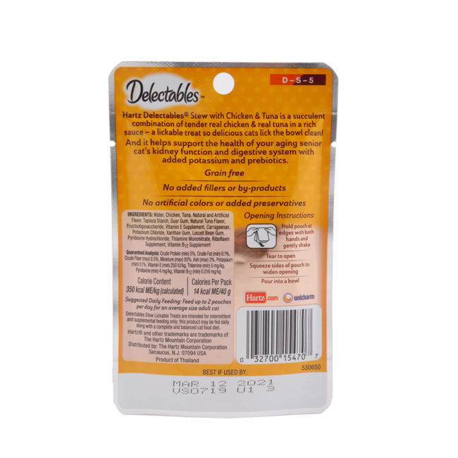 Hartz delectables lickable treat stew senior 10+ with chicken and tuna. Back of package.