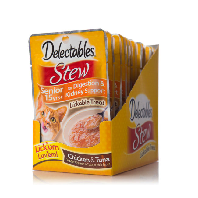 Hartz delectables lickable treat stew senior 15+ with chicken and tuna. Front of carton.