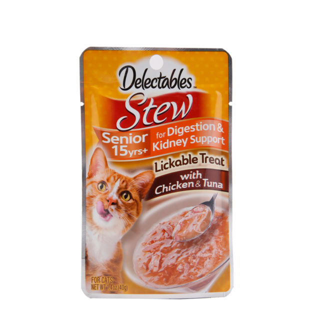Hartz delectables lickable treat stew senior 15+ with chicken and tuna. Front of package.