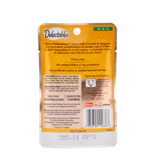 Hartz Delectables® Lickable Treat Stew with Chicken & Veggies. Back of package. Delectables Lickable Treat Stew Chicken & Veggies is the first wet cat treat.