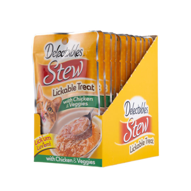 Hartz Delectables® Lickable Treat Stew with Chicken & Veggies. Front of opened carton. Delectables Lickable Treat Stew Chicken & Veggies is the first wet cat treat.