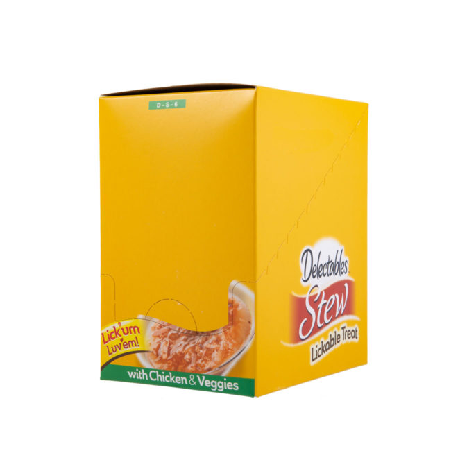 Hartz Delectables® Lickable Treat Stew with Chicken & Veggies. Front of closed carton. Delectables Lickable Treat Stew Chicken & Veggies is the first wet cat treat.