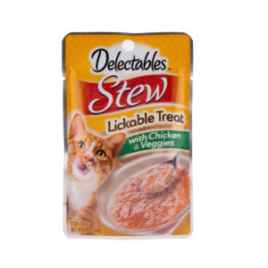 Hartz Delectables® Lickable Treat Stew with Chicken & Veggies. Front of package. Pictures are a cat and a cup of Delectables Lickable Treat Stew Chicken & Veggies