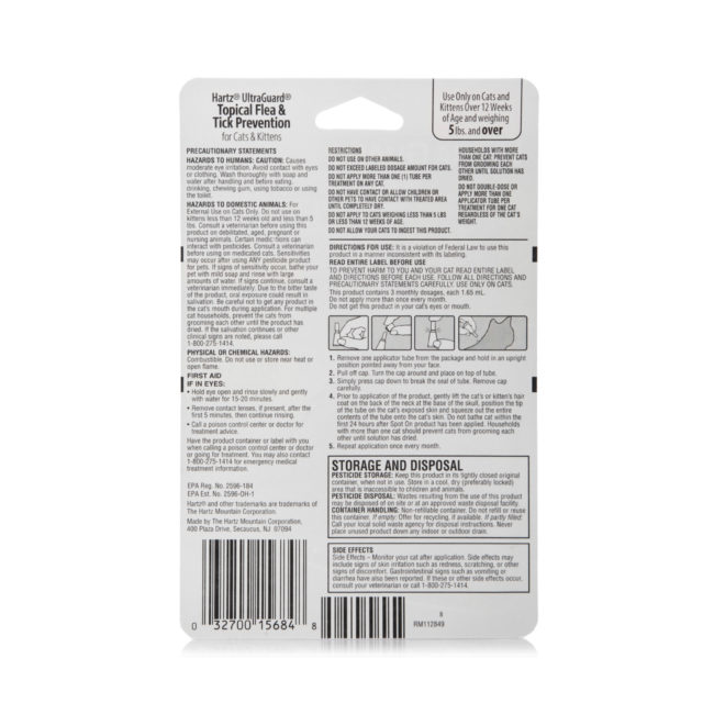 Directions to topical flea and tick treatment for cats, Hartz SKU 3270015684