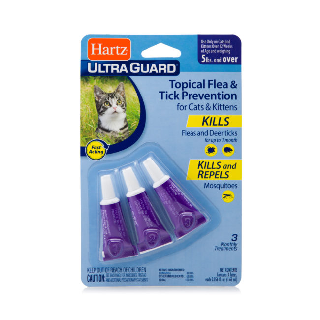 A topical flea and tick prevention treatment for cats, Hartz SKU 3270015684