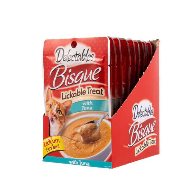 Front of Hartz Delectables Lickable Treat Bisque Tuna angled open carton. Delectables lickable treats are the first lickable wet cat treat.