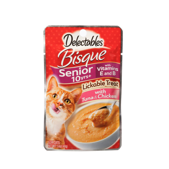 Front of delectables lickable treat bisque tuna and chicken senior cat treat package.