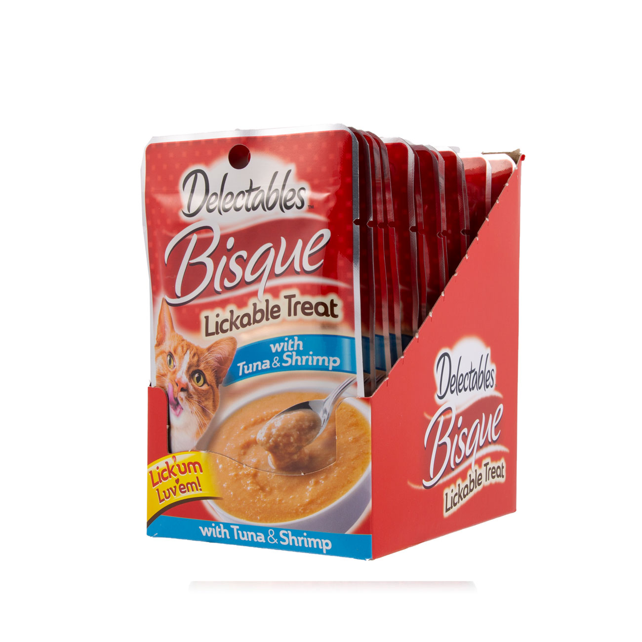 Hartz Delectables Lickable Treat for cats, front of opened carton. Tuna and Shrimp Bisque.