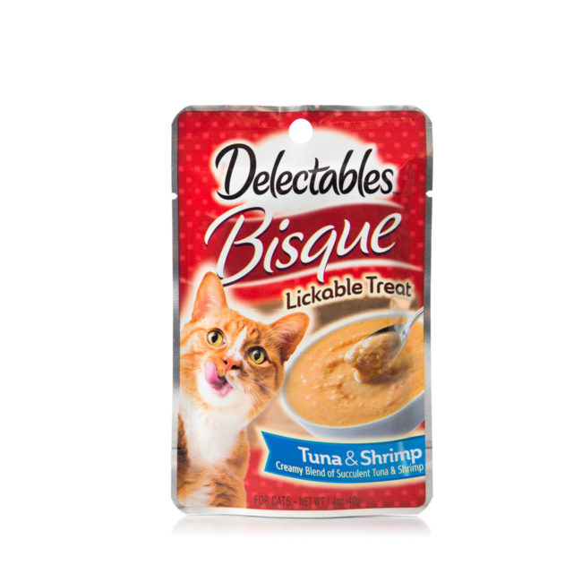 Hartz Delectables Lickable Treat for cats, front of package. Tuna and Shrimp Bisque.