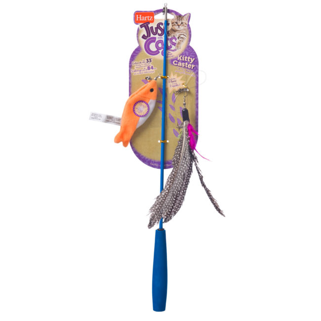 33 inch long fishing pole and orange fish toy for cats, Hartz SKU 3270015379