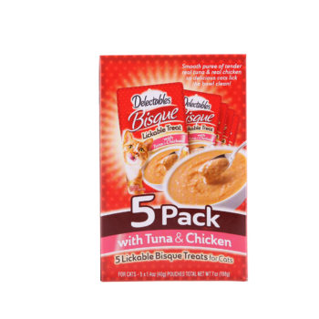 Delectables Bisque. 5 pack of real tuna and chicken bisque for cats, Hartz SKU 3270015467