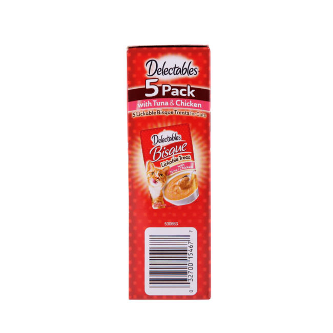Delectables lickable bisque treats for cats. 5 pack of real tuna and chicken bisque cat treats, Hartz SKU 3270015467