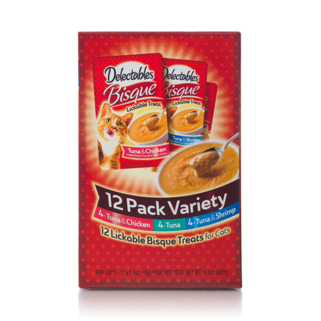 12 pack of lickable chicken, tuna and shrimp for cats, Hartz SKU 3270015469