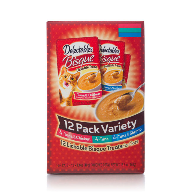 12 pack of chicken, tuna and shrimp bisque for cats, Hartz SKU 3270015469