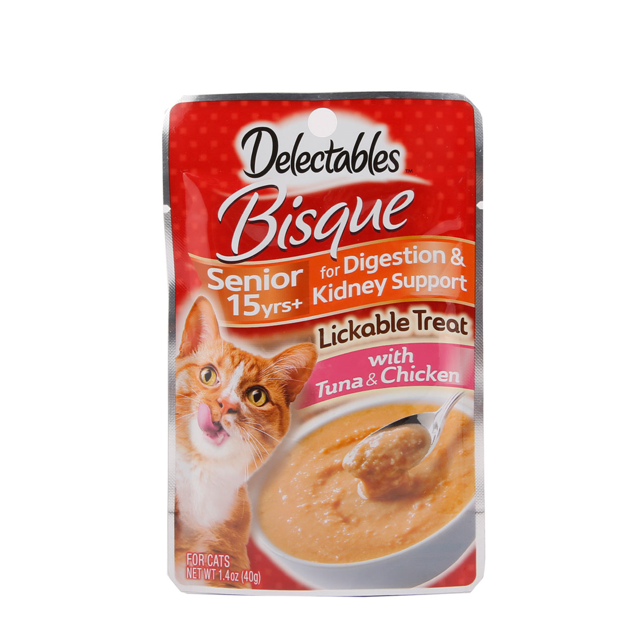 Front of Hartz Delectable Lickable Treat Bisque Tuna and Chicken for Senior Cats package. Delectable Lickable Treat is a senior cat treat.