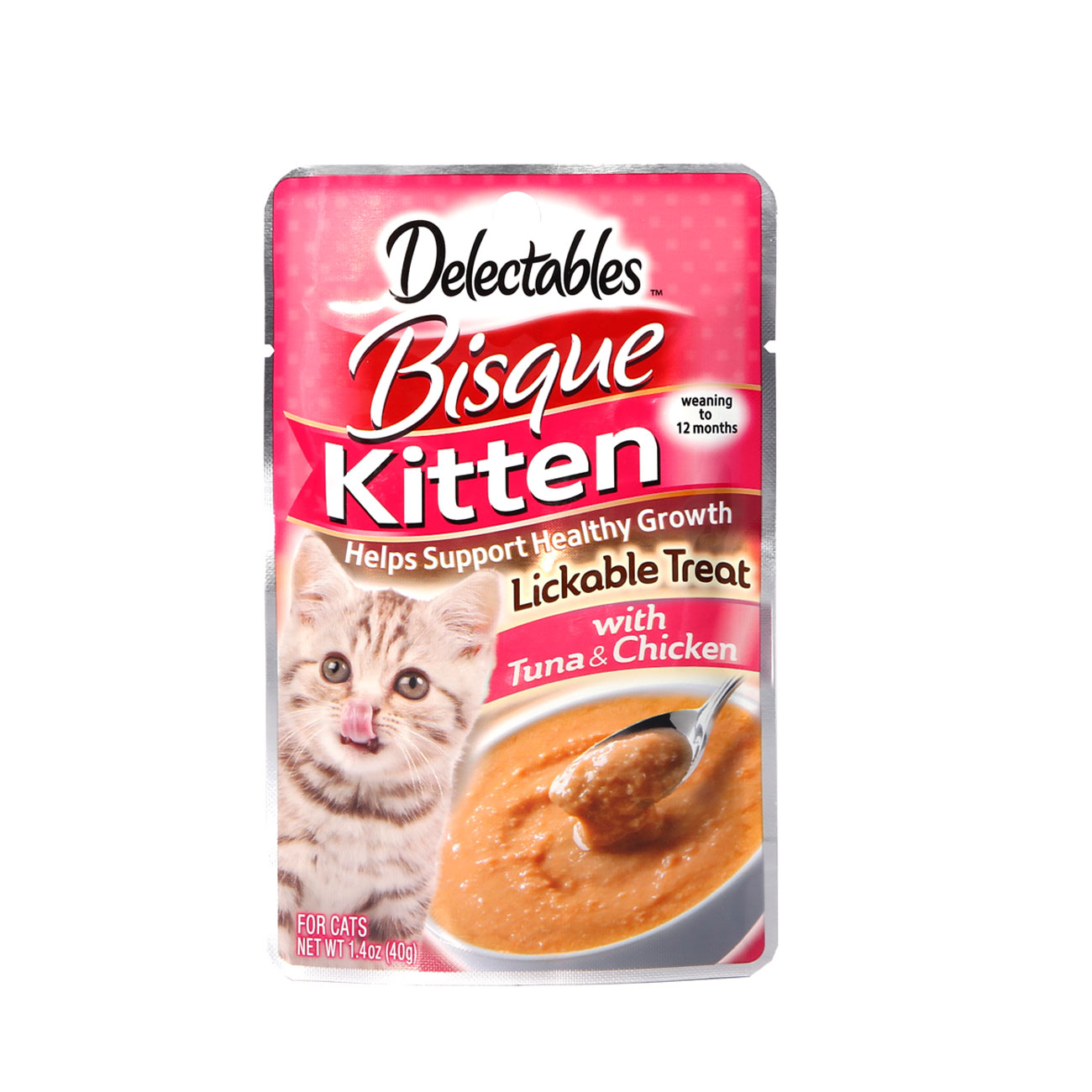 Delectables lickable treat bisque tuna and chicken for kittens. Front of package. Hartz delectables lickable treats are the first wet cat treat.